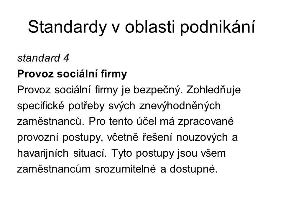 Standardy v oblasti podnikání standard 4 Provoz sociální firmy Provoz sociální firmy je bezpečný. Zohledňuje specifické potřeby svých znevýhodněných z