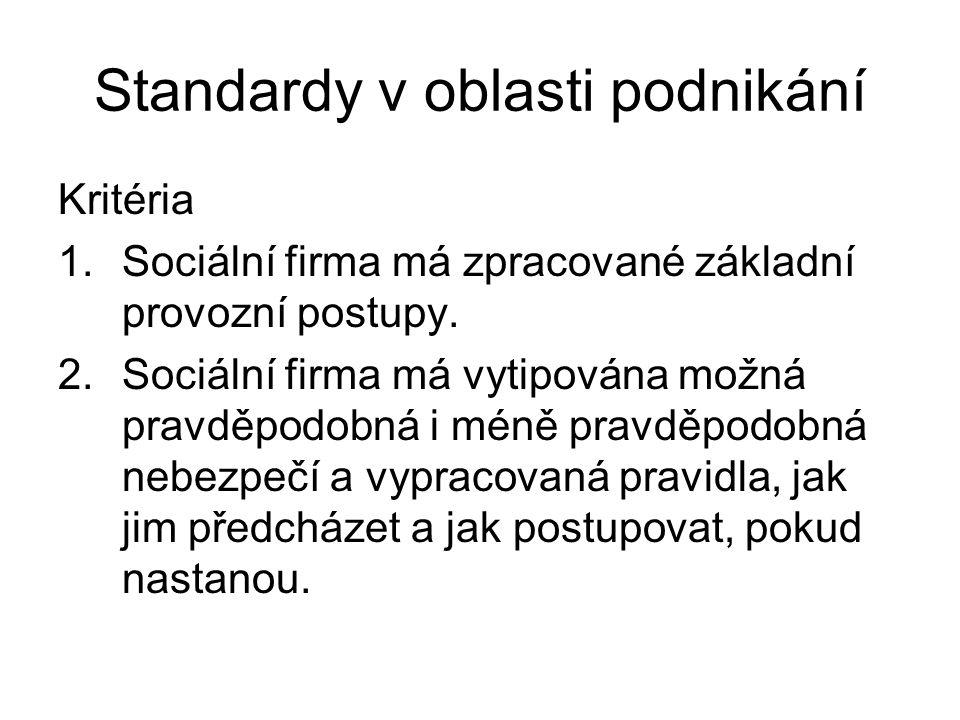 Standardy v oblasti podnikání Kritéria 1.Sociální firma má zpracované základní provozní postupy. 2.Sociální firma má vytipována možná pravděpodobná i