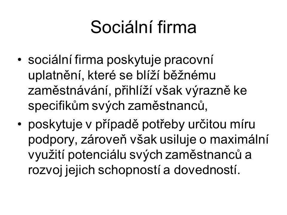 Sociální firma Definice: Sociální firma je konkurenceschopný podnikatelský subjekt působící na běžném trhu, jehož účelem je vytvářet pracovní příležitosti pro osoby znevýhodněné na trhu práce a k tomu jim poskytovat přiměřenou pracovní a psychosociální podporu.