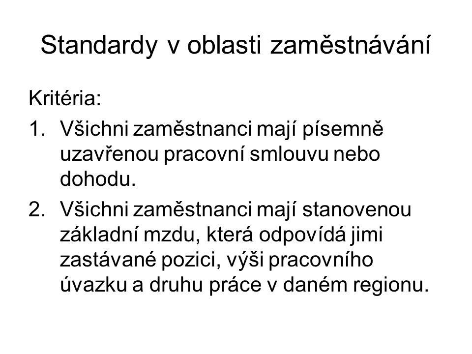 Standardy v oblasti zaměstnávání Kritéria: 1.Všichni zaměstnanci mají písemně uzavřenou pracovní smlouvu nebo dohodu. 2.Všichni zaměstnanci mají stano