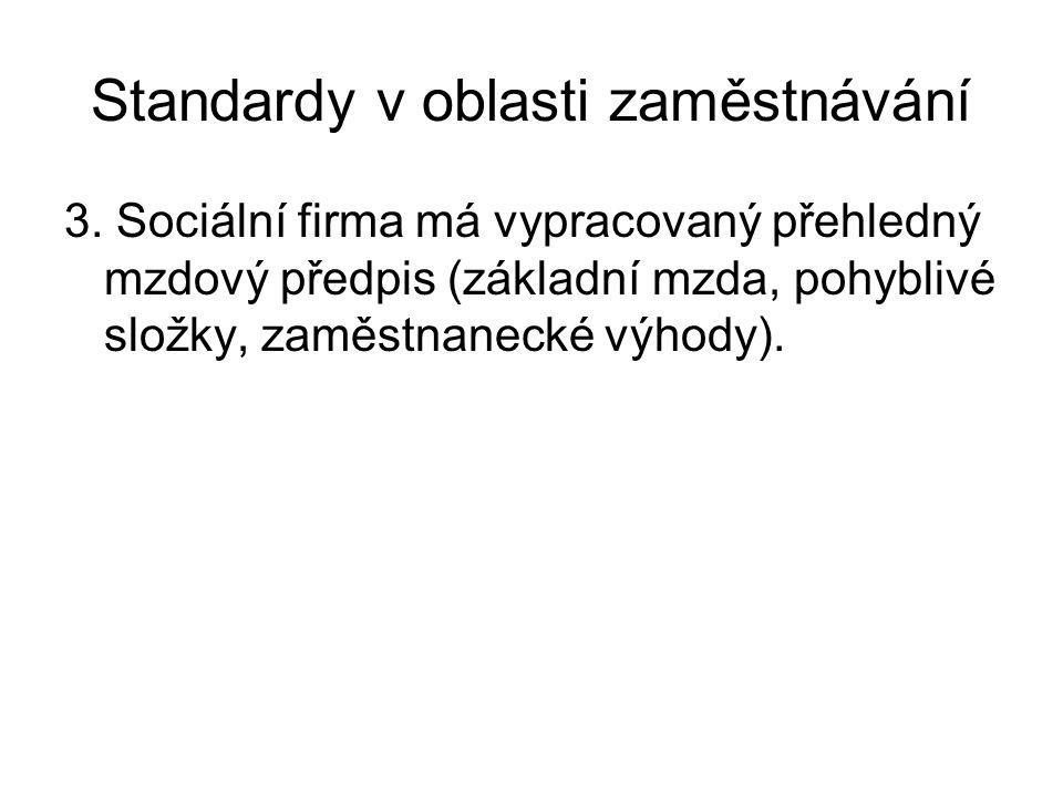Standardy v oblasti zaměstnávání 3. Sociální firma má vypracovaný přehledný mzdový předpis (základní mzda, pohyblivé složky, zaměstnanecké výhody).