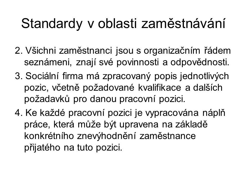 Standardy v oblasti zaměstnávání 2. Všichni zaměstnanci jsou s organizačním řádem seznámeni, znají své povinnosti a odpovědnosti. 3. Sociální firma má