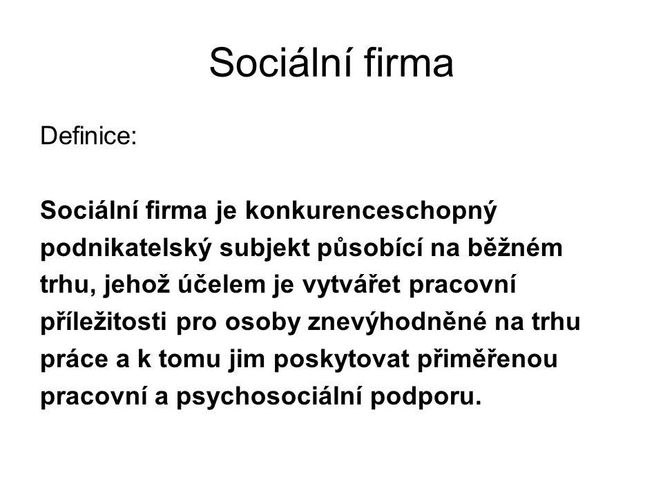 Sociální firma Definice: Sociální firma je konkurenceschopný podnikatelský subjekt působící na běžném trhu, jehož účelem je vytvářet pracovní příležit