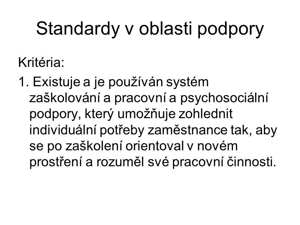 Standardy v oblasti podpory Kritéria: 1. Existuje a je používán systém zaškolování a pracovní a psychosociální podpory, který umožňuje zohlednit indiv