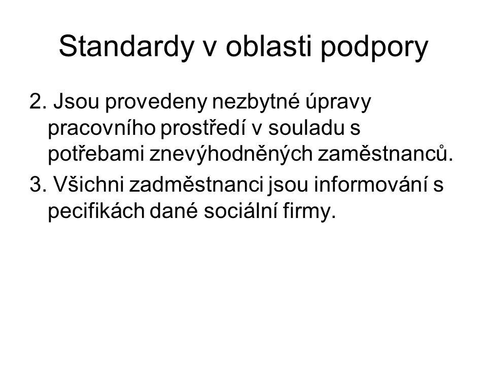 Standardy v oblasti podpory 2. Jsou provedeny nezbytné úpravy pracovního prostředí v souladu s potřebami znevýhodněných zaměstnanců. 3. Všichni zadměs
