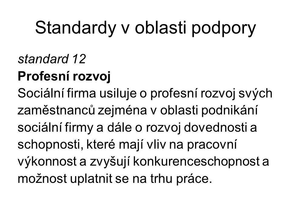 Standardy v oblasti podpory standard 12 Profesní rozvoj Sociální firma usiluje o profesní rozvoj svých zaměstnanců zejména v oblasti podnikání sociáln