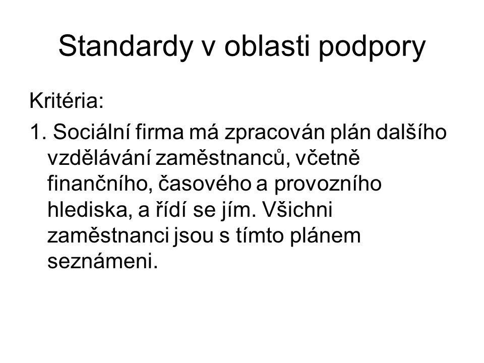 Standardy v oblasti podpory Kritéria: 1. Sociální firma má zpracován plán dalšího vzdělávání zaměstnanců, včetně finančního, časového a provozního hle