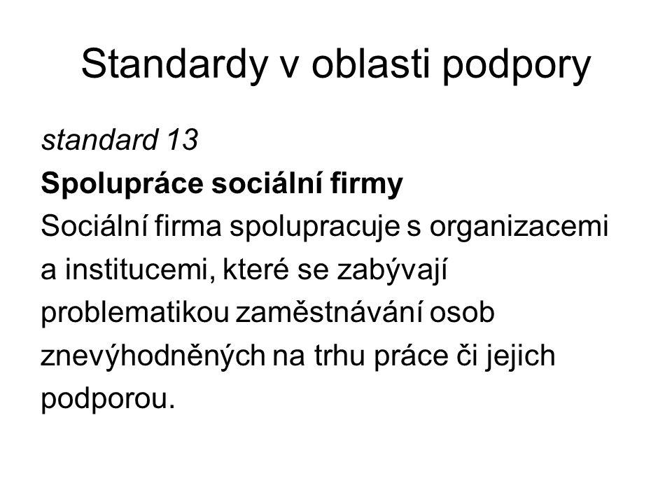Standardy v oblasti podpory standard 13 Spolupráce sociální firmy Sociální firma spolupracuje s organizacemi a institucemi, které se zabývají problema