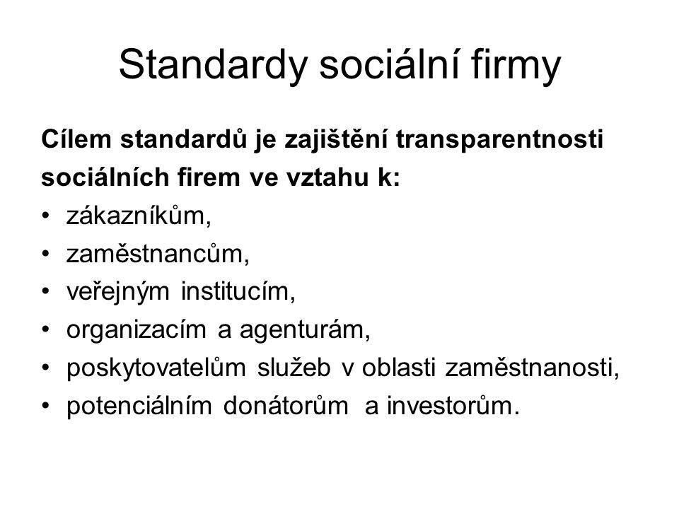 Standardy sociální firmy Cílem standardů je zajištění transparentnosti sociálních firem ve vztahu k: zákazníkům, zaměstnancům, veřejným institucím, or