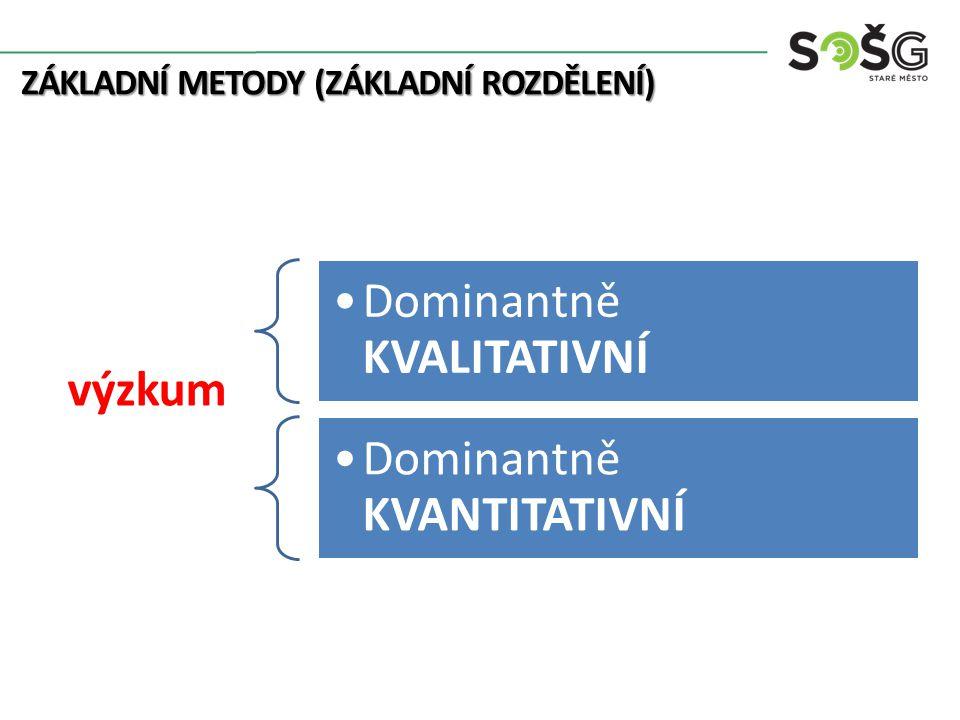 ZÁKLADNÍ METODY (ZÁKLADNÍ ROZDĚLENÍ) Dominantně KVALITATIVNÍ výzkum Dominantně KVANTITATIVNÍ