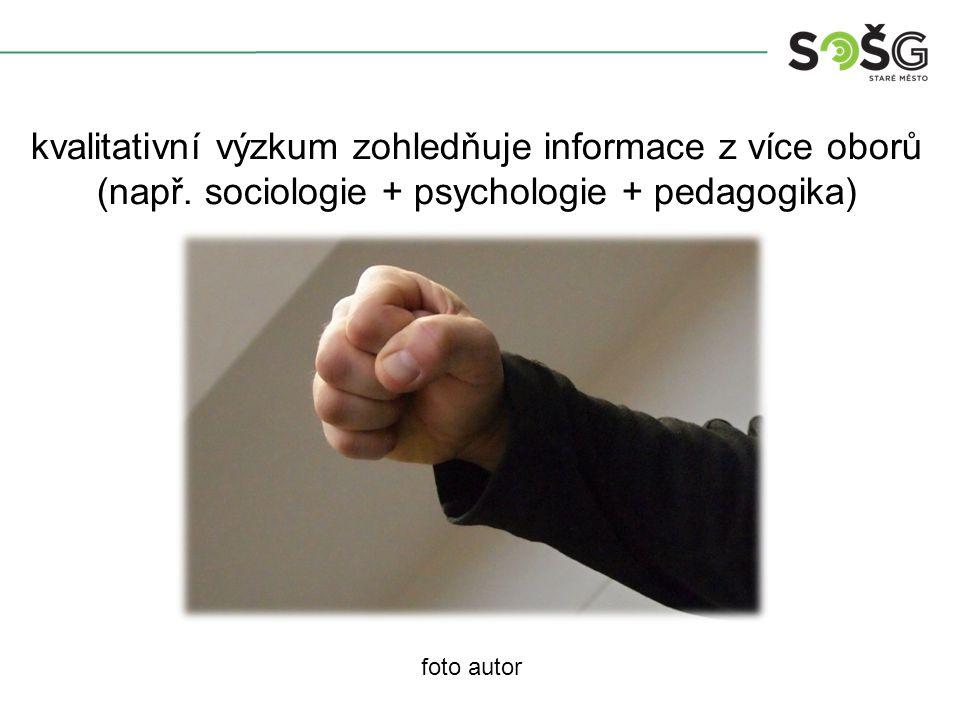 foto autor kvalitativní výzkum zohledňuje informace z více oborů (např.