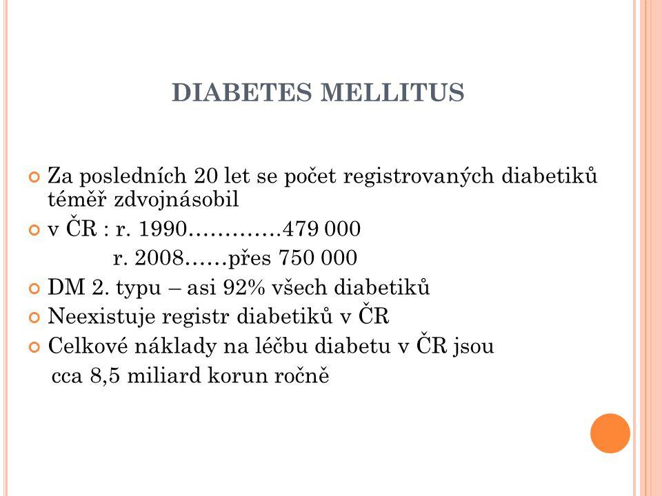 DIABETES MELLITUS Za posledních 20 let se počet registrovaných diabetiků téměř zdvojnásobil v ČR : r.