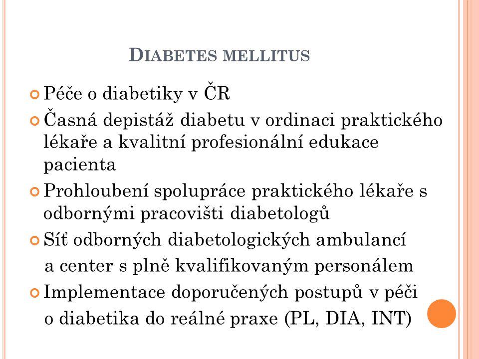 D IABETES MELLITUS Péče o diabetiky v ČR Časná depistáž diabetu v ordinaci praktického lékaře a kvalitní profesionální edukace pacienta Prohloubení spolupráce praktického lékaře s odbornými pracovišti diabetologů Síť odborných diabetologických ambulancí a center s plně kvalifikovaným personálem Implementace doporučených postupů v péči o diabetika do reálné praxe (PL, DIA, INT)