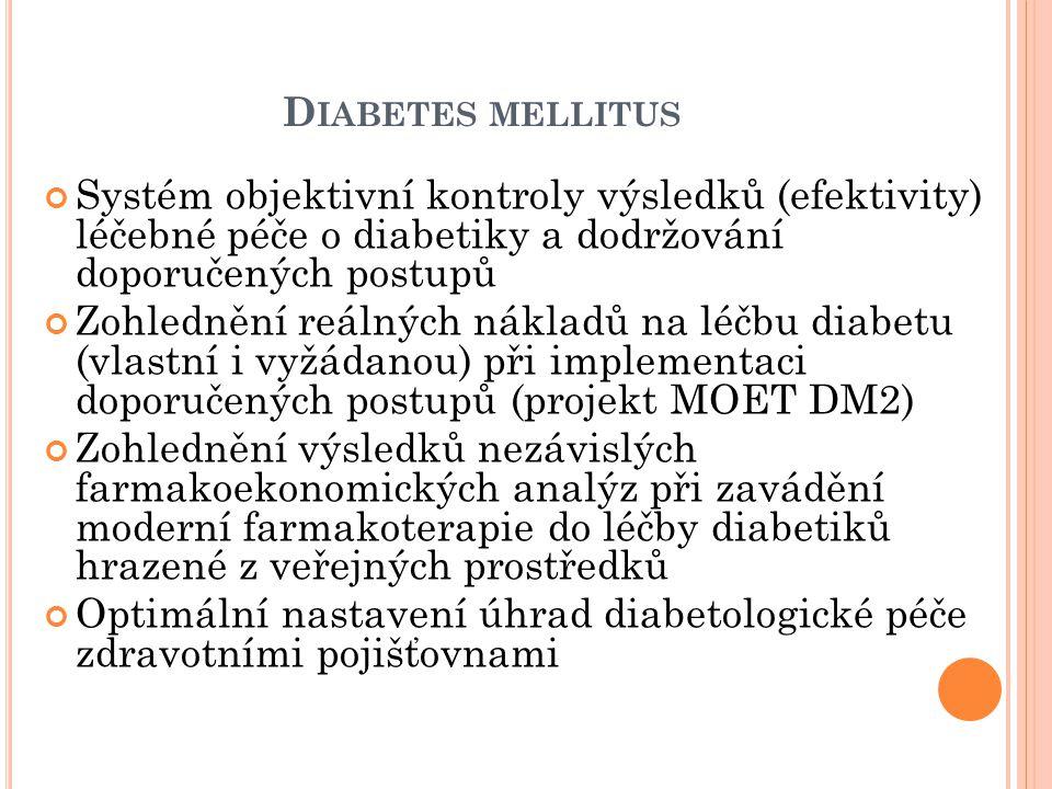 D IABETES MELLITUS Systém objektivní kontroly výsledků (efektivity) léčebné péče o diabetiky a dodržování doporučených postupů Zohlednění reálných nákladů na léčbu diabetu (vlastní i vyžádanou) při implementaci doporučených postupů (projekt MOET DM2) Zohlednění výsledků nezávislých farmakoekonomických analýz při zavádění moderní farmakoterapie do léčby diabetiků hrazené z veřejných prostředků Optimální nastavení úhrad diabetologické péče zdravotními pojišťovnami