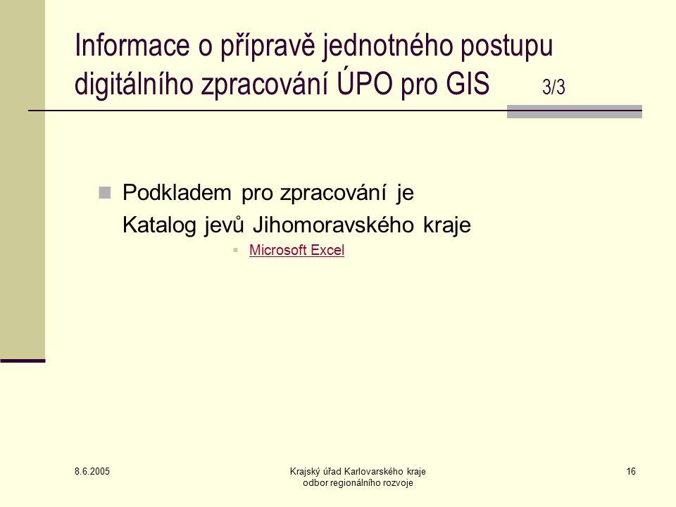 8.6.2005 Krajský úřad Karlovarského kraje odbor regionálního rozvoje 16 Podkladem pro zpracování je Katalog jevů Jihomoravského kraje  Microsoft Excel Microsoft Excel Informace o přípravě jednotného postupu digitálního zpracování ÚPO pro GIS 3/3