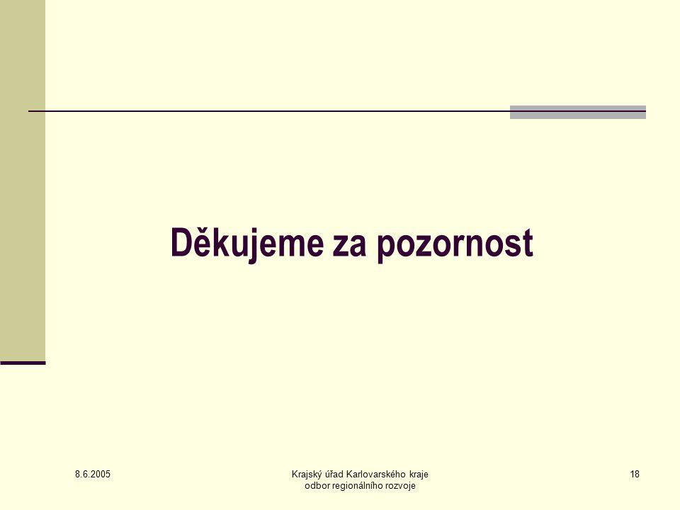 8.6.2005 Krajský úřad Karlovarského kraje odbor regionálního rozvoje 18 Děkujeme za pozornost