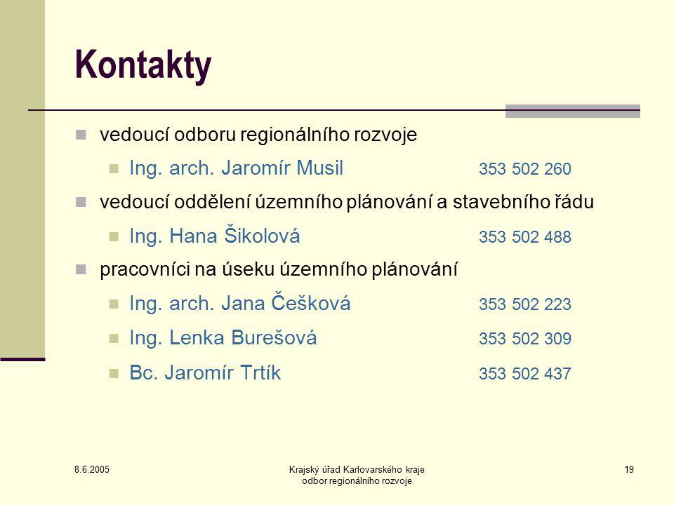 8.6.2005 Krajský úřad Karlovarského kraje odbor regionálního rozvoje 19 Kontakty vedoucí odboru regionálního rozvoje Ing.
