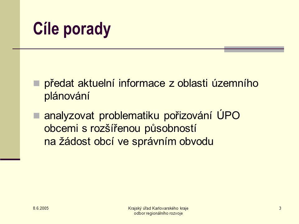 8.6.2005 Krajský úřad Karlovarského kraje odbor regionálního rozvoje 14 Informace o přípravě jednotného postupu digitálního zpracování ÚPO pro GIS 1/3 Obce s rozšířenou působností byly informovány dopisem v březnu 2004 (rozesláno s dotazníky) Cílem systému je sjednotit vyjadřovací prostředky a interpretaci jevů ÚPO Výsledkem by mělo být efektivní využití údajů, lepší práce s informacemi a daty obsaženými v ÚPO, srozumitelnost grafického vyjádření a kompatibilita dat Jednotný postup zohledňuje odlišnosti práce projektantů a jejich programového vybavení Systém katalogu jevů umožňuje zohlednění specifik využití území v jednotlivých obcích Pro uvedení do praxe budou, kromě výhod vyplývajících z možností GIS, motivací také příspěvky kraje na zpracování ÚPO