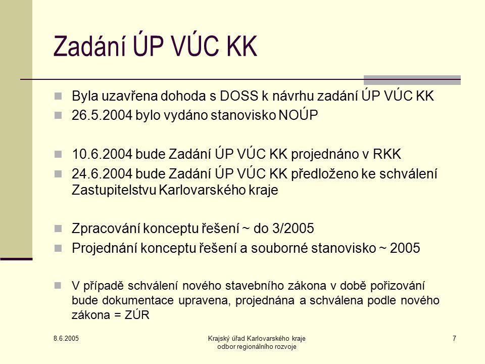 8.6.2005 Krajský úřad Karlovarského kraje odbor regionálního rozvoje 7 Zadání ÚP VÚC KK Byla uzavřena dohoda s DOSS k návrhu zadání ÚP VÚC KK 26.5.200