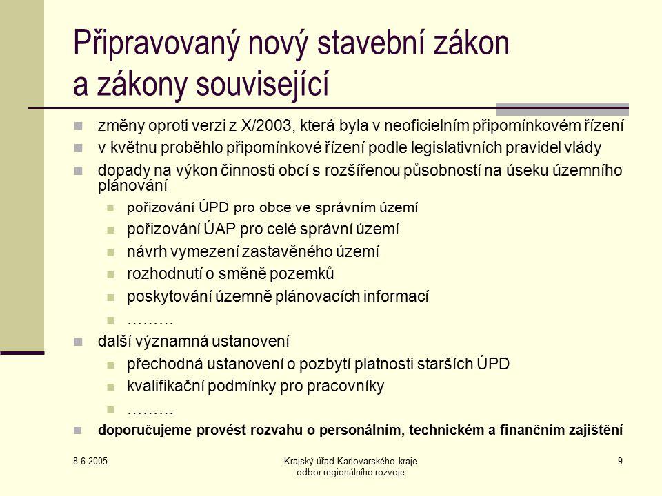 8.6.2005 Krajský úřad Karlovarského kraje odbor regionálního rozvoje 10 Územní plánování a ochrana ZPF Ing.