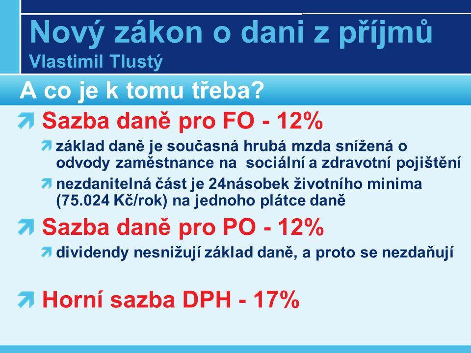 Nový zákon o dani z příjmů Vlastimil Tlustý A co je k tomu třeba.