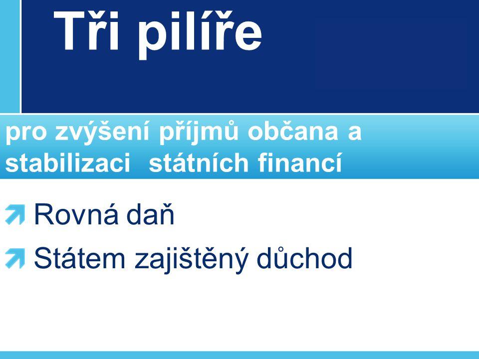 Tři pilíře pro zvýšení příjmů občana a stabilizaci státních financí Rovná daň