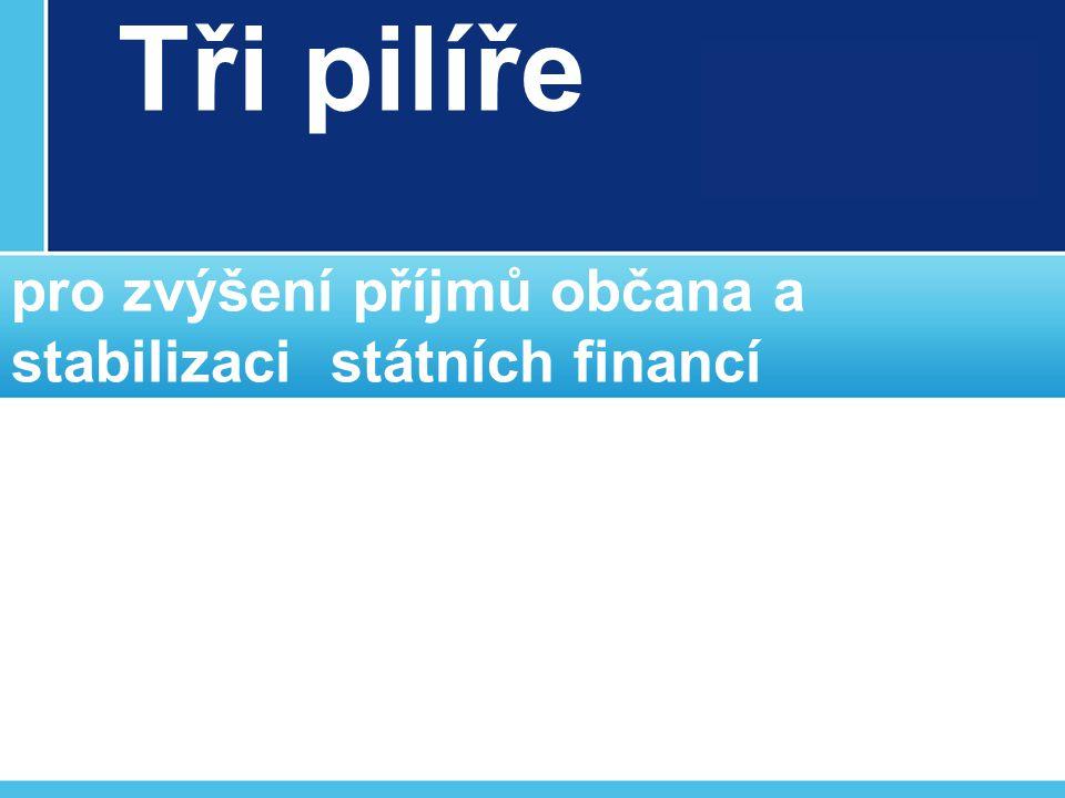 Tři pilíře pro zvýšení příjmů občana a stabilizaci státních financí