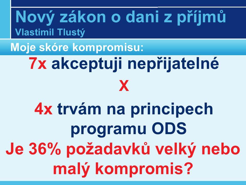 Nový zákon o dani z příjmů Vlastimil Tlustý Moje skóre kompromisu: 7x akceptuji nepřijatelné X 4x trvám na principech programu ODS Je 36% požadavků velký nebo malý kompromis
