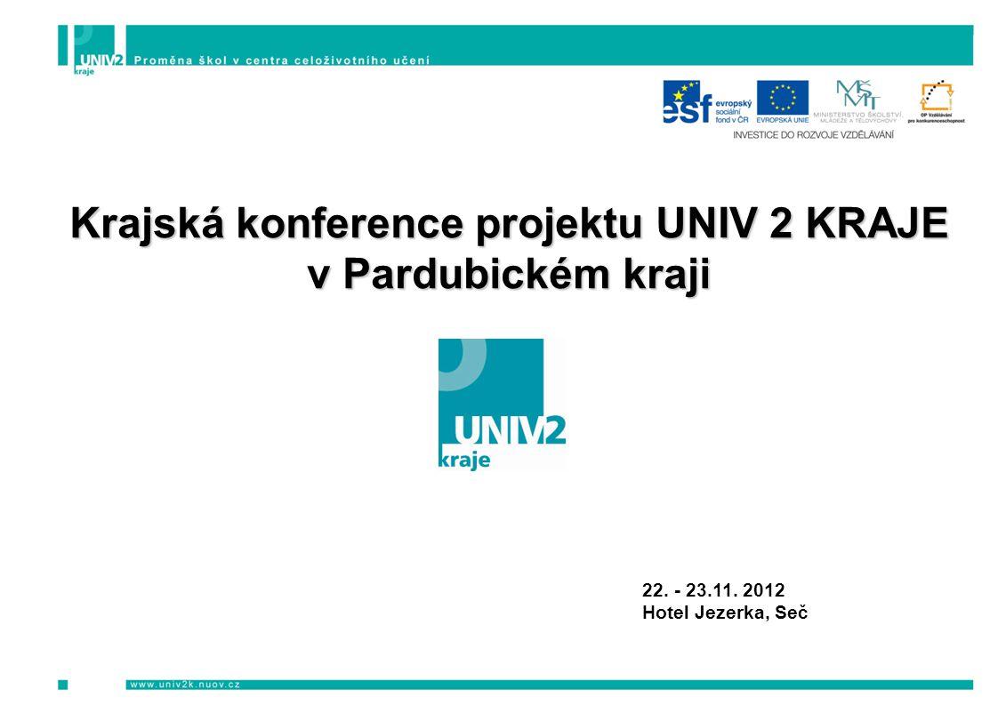 Krajská konference projektu UNIV 2 KRAJE v Pardubickém kraji 22. - 23.11. 2012 Hotel Jezerka, Seč