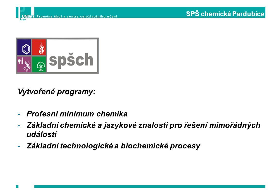 SPŠ chemická Pardubice Vytvořené programy: -Profesní minimum chemika -Základní chemické a jazykové znalosti pro řešení mimořádných událostí -Základní