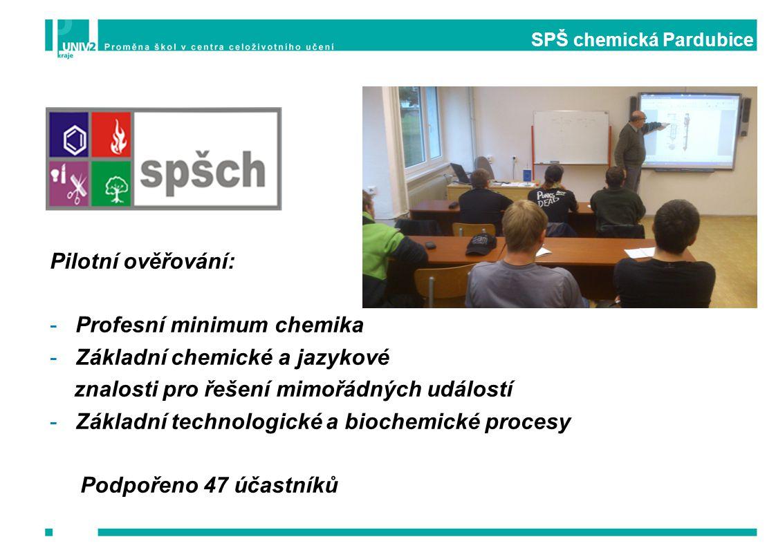 SPŠ chemická Pardubice Pilotní ověřování: -Profesní minimum chemika -Základní chemické a jazykové znalosti pro řešení mimořádných událostí -Základní t