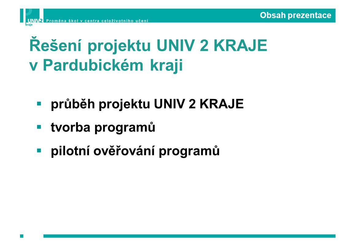 Obsah prezentace  průběh projektu UNIV 2 KRAJE  tvorba programů  pilotní ověřování programů Řešení projektu UNIV 2 KRAJE v Pardubickém kraji