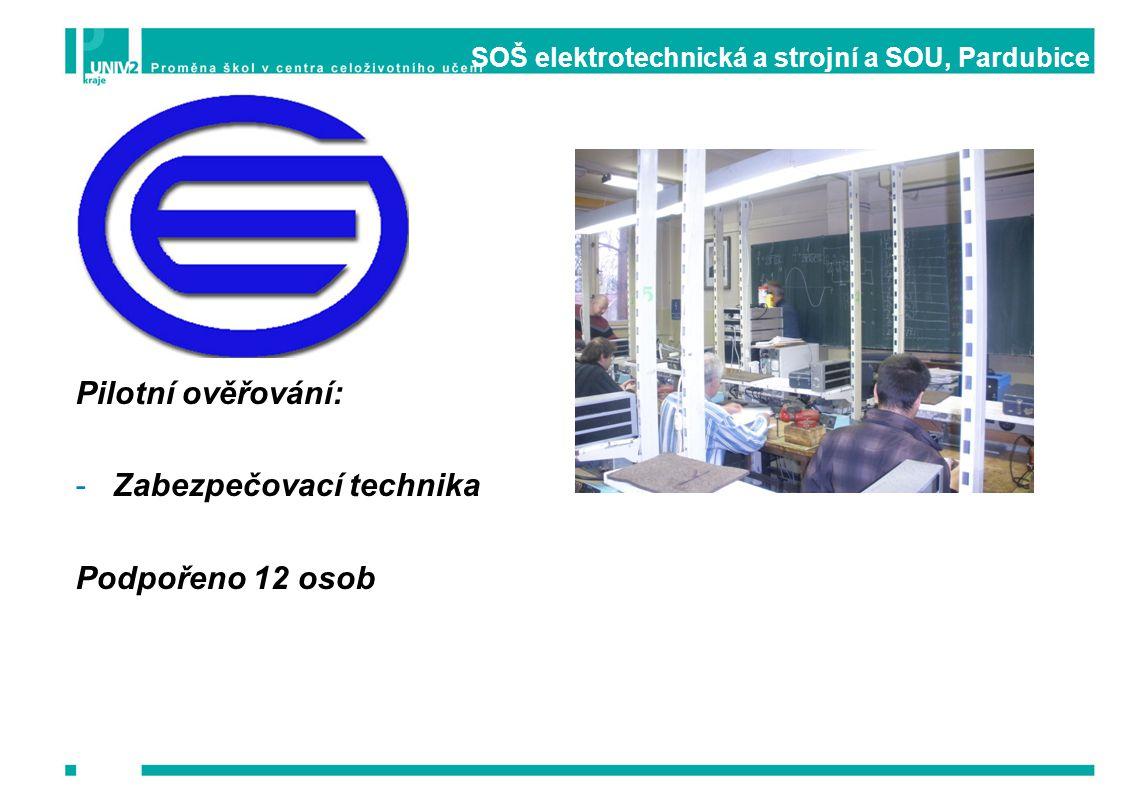 SOŠ elektrotechnická a strojní a SOU, Pardubice Pilotní ověřování: -Zabezpečovací technika Podpořeno 12 osob
