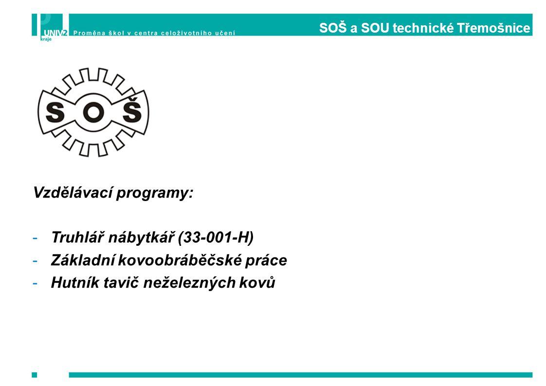 SOŠ a SOU technické Třemošnice Vzdělávací programy: -Truhlář nábytkář (33-001-H) -Základní kovoobráběčské práce -Hutník tavič neželezných kovů