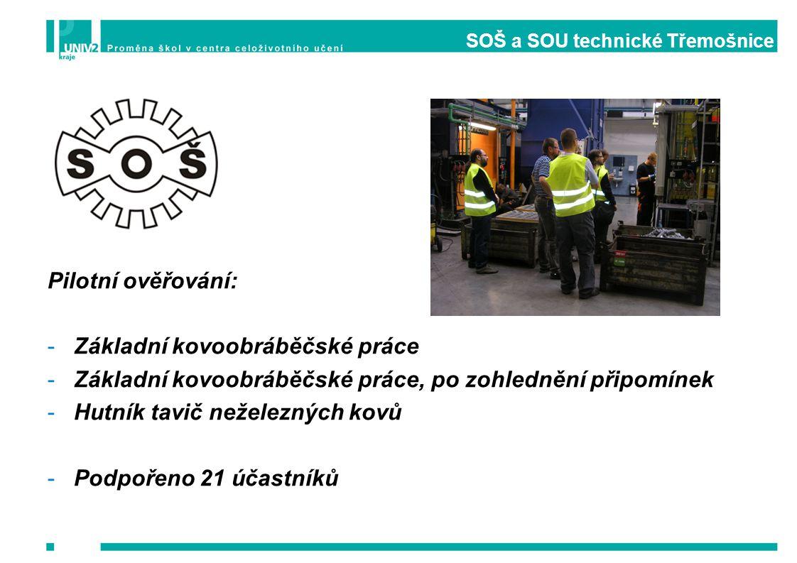 SOŠ a SOU technické Třemošnice Pilotní ověřování: -Základní kovoobráběčské práce -Základní kovoobráběčské práce, po zohlednění připomínek -Hutník tavi