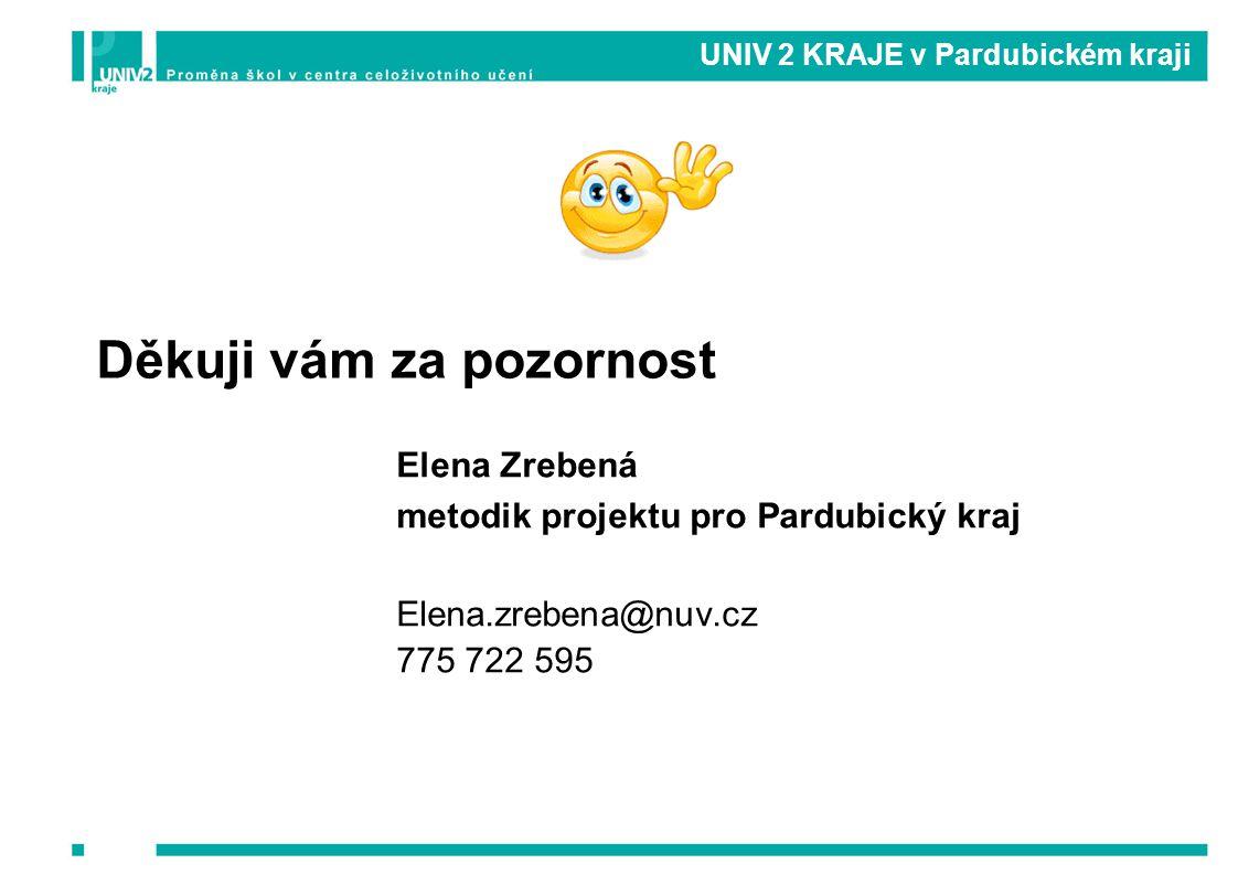 UNIV 2 KRAJE v Pardubickém kraji Elena Zrebená metodik projektu pro Pardubický kraj Elena.zrebena@nuv.cz 775 722 595 Děkuji vám za pozornost