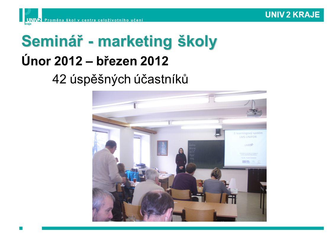 Seminář - marketing školy Únor 2012 – březen 2012 42 úspěšných účastníků UNIV 2 KRAJE