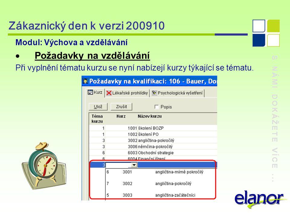 S NÁMI DOKÁŽETE VÍCE... Zákaznický den k verzi 200910 Modul: Výchova a vzdělávání  Požadavky na vzdělávání Při vyplnění tématu kurzu se nyní nabízejí