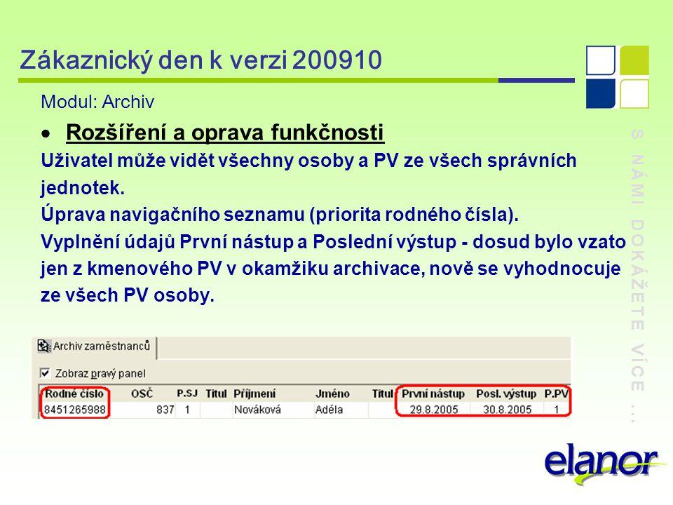S NÁMI DOKÁŽETE VÍCE... Zákaznický den k verzi 200910 Modul: Archiv  Rozšíření a oprava funkčnosti Uživatel může vidět všechny osoby a PV ze všech sp