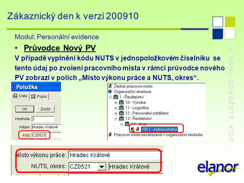 S NÁMI DOKÁŽETE VÍCE... Zákaznický den k verzi 200910 Modul: Personální evidence Průvodce Nový PV V případě vyplnění kódu NUTS v jednopoložkovém čísel