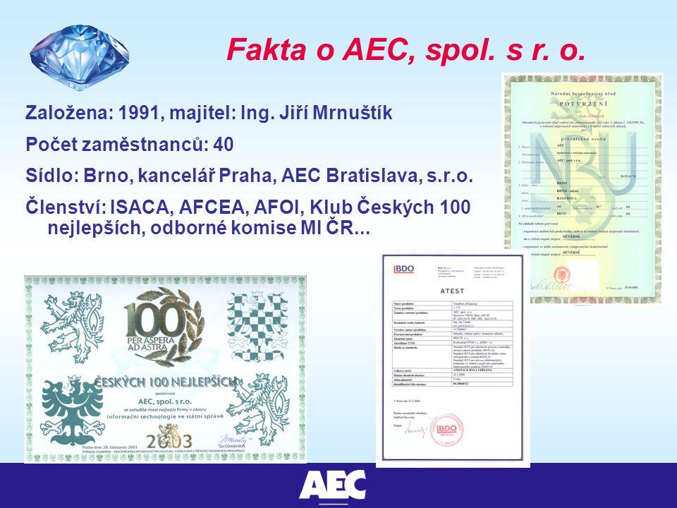 Fakta o AEC, spol. s r. o. Založena: 1991, majitel: Ing.