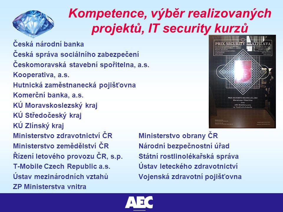 Kompetence, výběr realizovaných projektů, IT security kurzů Česká národní banka Česká správa sociálního zabezpečení Českomoravská stavební spořitelna, a.s.