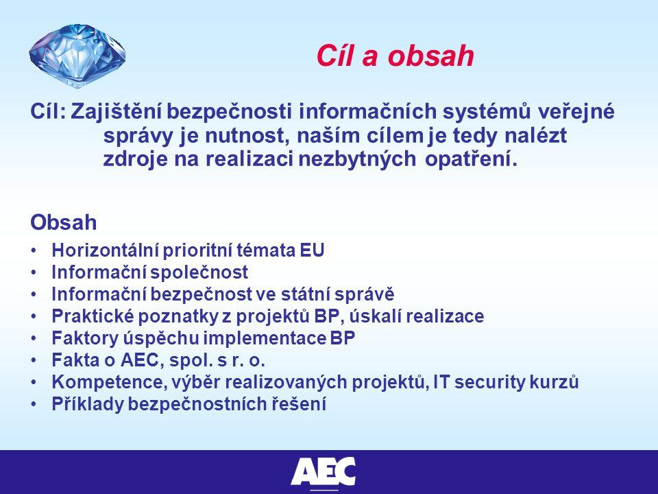 Cíl a obsah Cíl: Zajištění bezpečnosti informačních systémů veřejné správy je nutnost, naším cílem je tedy nalézt zdroje na realizaci nezbytných opatření.