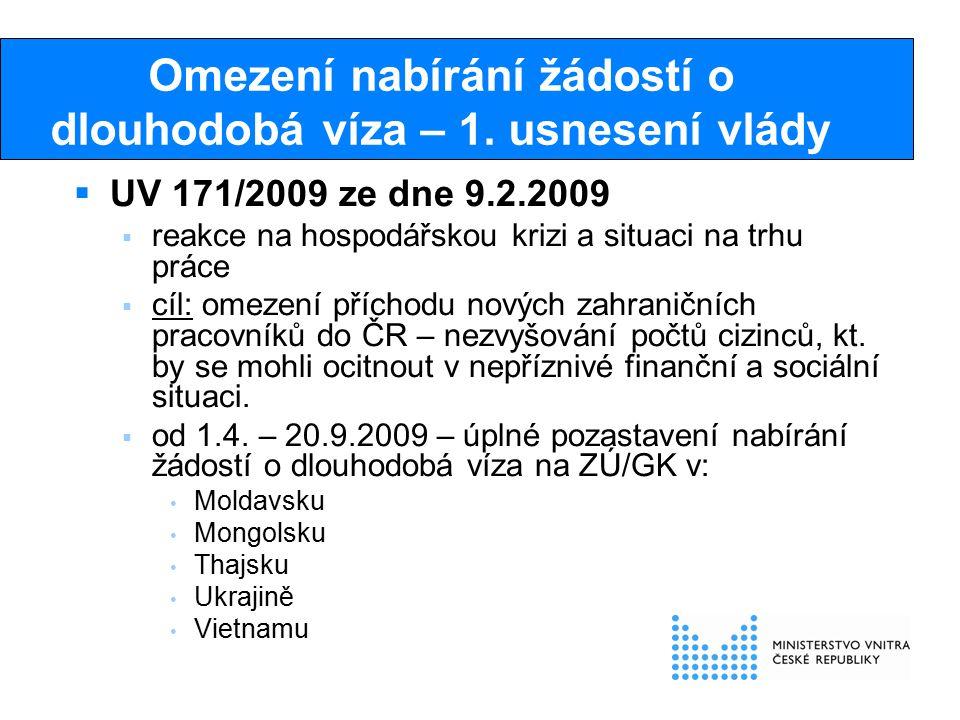 Omezení nabírání žádostí o dlouhodobá víza – 1. usnesení vlády  UV 171/2009 ze dne 9.2.2009  reakce na hospodářskou krizi a situaci na trhu práce 