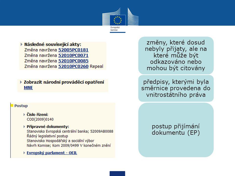 změny, které dosud nebyly přijaty, ale na které může být odkazováno nebo mohou být citovány předpisy, kterými byla směrnice provedena do vnitrostátního práva postup přijímání dokumentu (EP)