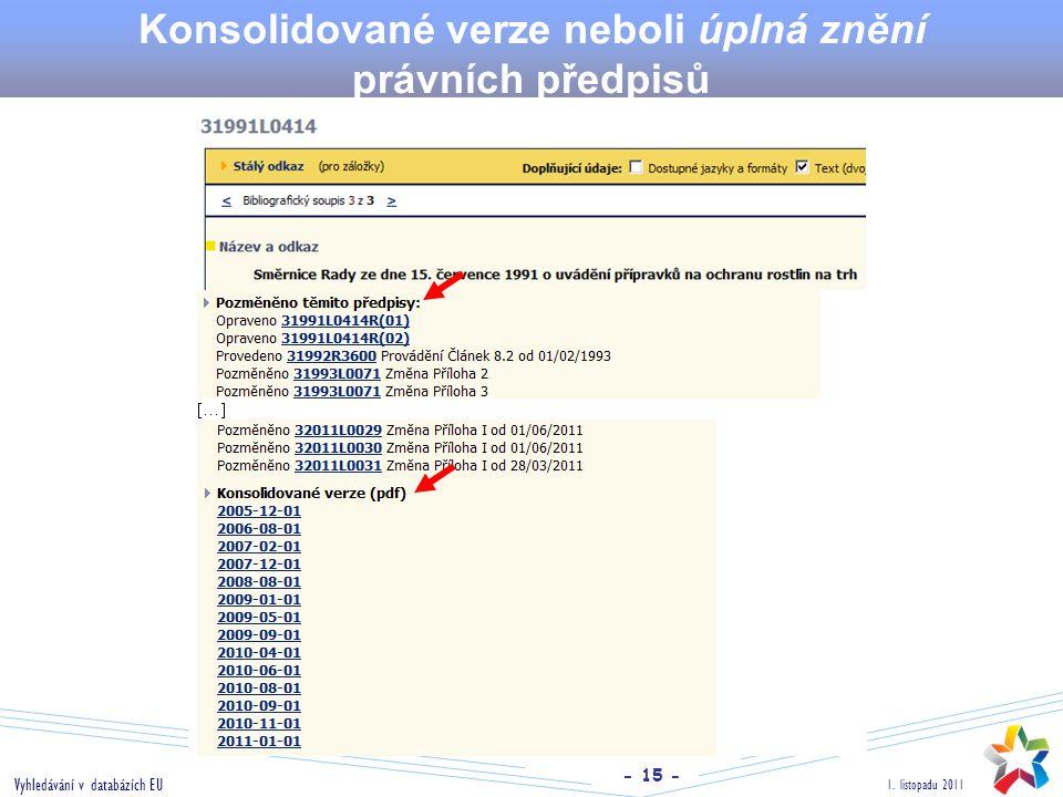 - 15 - 1. listopadu 2011 Vyhledávání v databázích EU Konsolidované verze neboli úplná znění právních předpisů