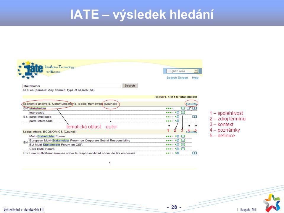 - 28 - 1. listopadu 2011 Vyhledávání v databázích EU IATE – výsledek hledání 1 2 3 4 5 1 – spolehlivost 2 – zdroj termínu 3 – kontext 4 – poznámky 5 –