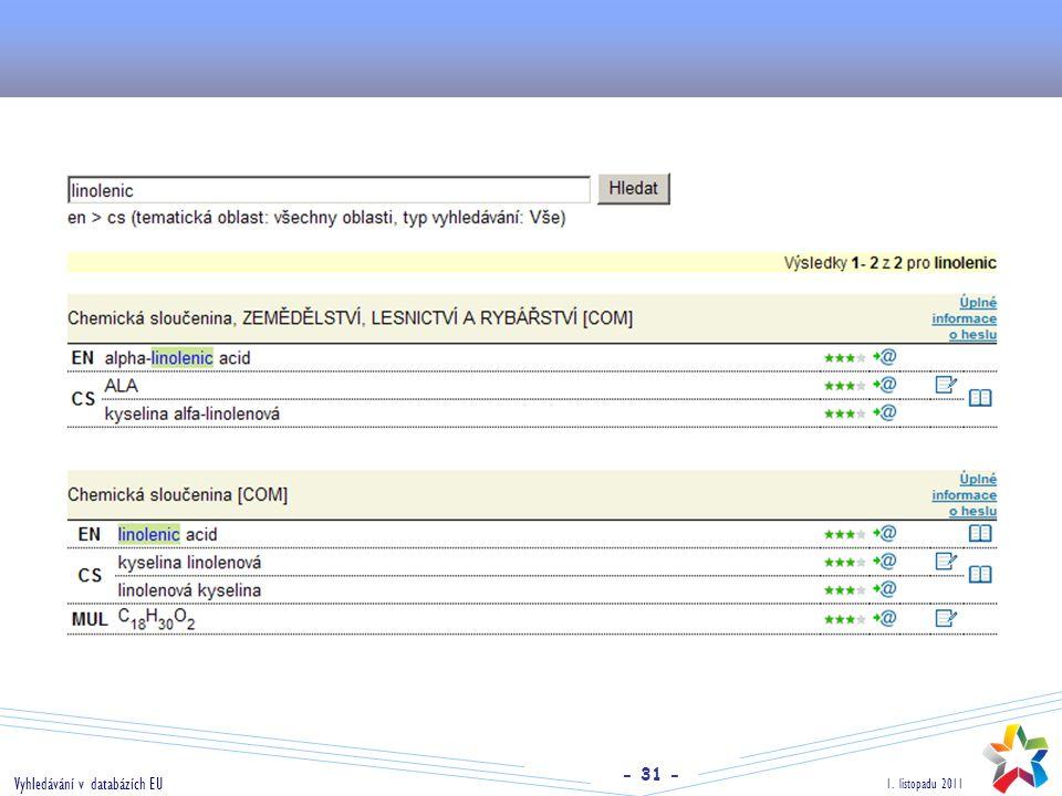 - 31 - 1. listopadu 2011 Vyhledávání v databázích EU