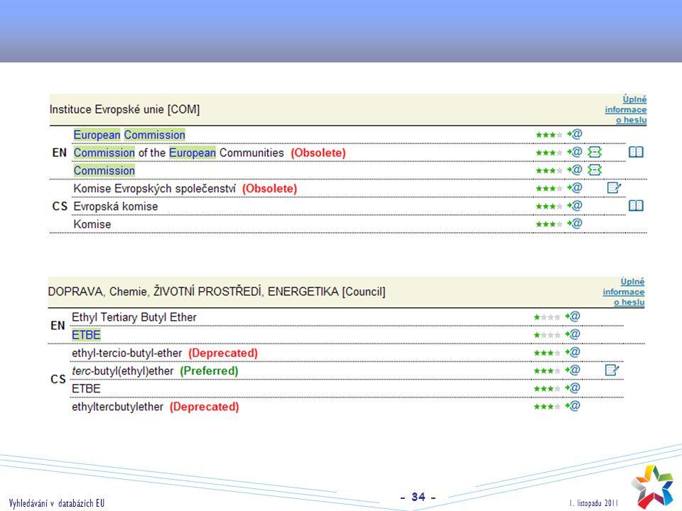 - 34 - 1. listopadu 2011 Vyhledávání v databázích EU