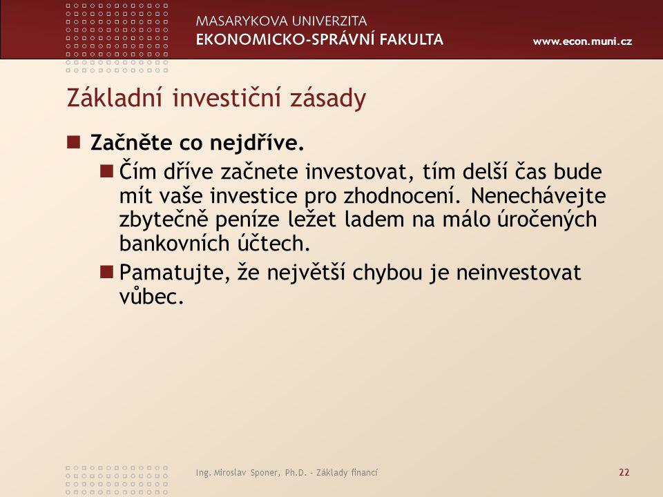www.econ.muni.cz Základní investiční zásady Začněte co nejdříve.